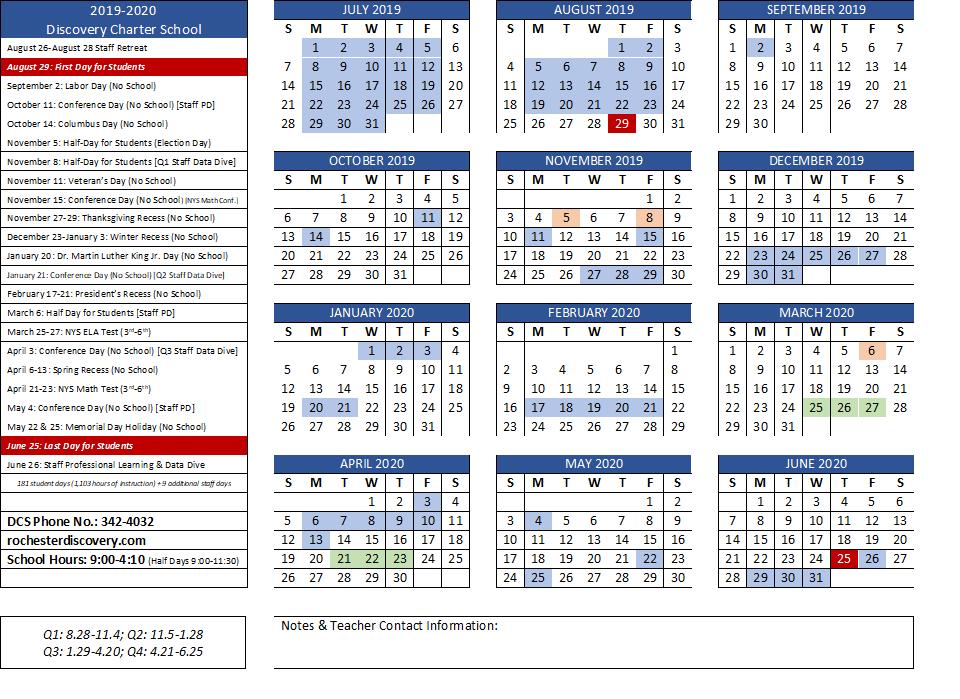 Rochester Public Schools Calendar.School Calendar Discovery Charter School
