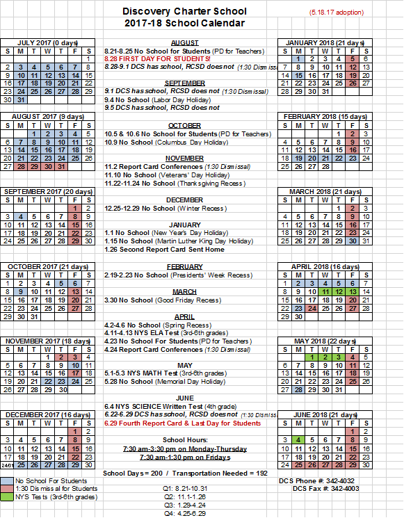 School Calendar – Discovery Charter School